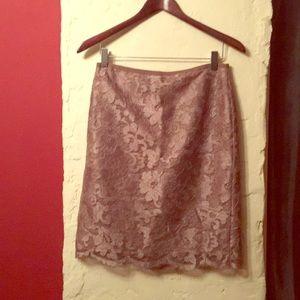 Mauve Jcrew eyelash lace pencil skirt